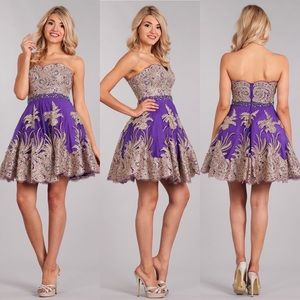 My Fashion 1698 Purple w Gold Lace Dress